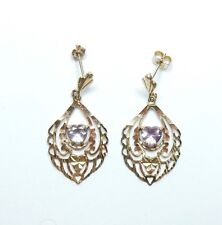 Earrings 9 Carat Yellow Gold Love Heart Amethyst Set Drop / Dangle Fancy  2g