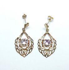 9 Carat Yellow Gold Love Heart Amethyst Set Drop / Dangle Fancy Earrings 2g