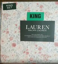 Ralph Lauren White Gray Red Coral Floral King Sheet Set