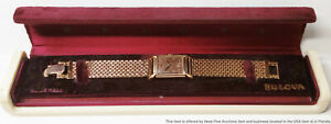 Minty 14k Rose Gold Bulova Art Deco Vintage Mens Wrist Watch Box