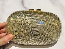Vintage Gold Tone Crystal Clutch Minaudiere Bag