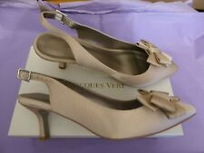 Jacques Vert UK7 EU40 US9.5 gold satin slingback bow front sandals