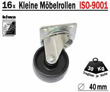 Möbelrollen Tischrollen Lenkrollen 16 x Ø 40mm Polyamid Schwarz ISO-9001 Germany