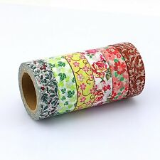 Floral washi tape collection,Set of 6 rolls