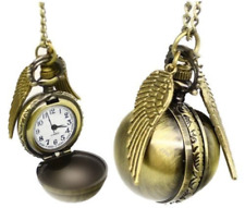 Harry Potter Golden Snitch Watch Necklace Steampunk Quidditch Pocket Clock UK