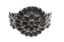 Navajo Handmade Onyx Cluster Sterling Silver Cuff Bracelet - Juliana Williams