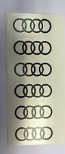 6 x AUDI RINGS REPLACEMENT CENTRE CAP DECALS STICKERS 55MM MOST COLOURS in stock