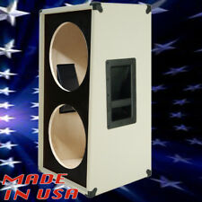 2X12 Vertical Slant guitar Speaker Empty Cabinet white Tolex black face G2X12VSL