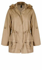 Crossroads Camel twill PARKA coat jacket faux fur hood 20 drawstring waist NEW