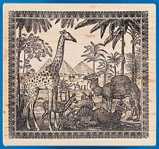 Large EGYPT Rubber Stamp by Magenta - Pyramids Camels Giraffe Palm Trees Desert