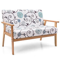 Modern Fabric Loveseat Sofa Couch Upholstered 2-Seat Armchair White&Blue Floral