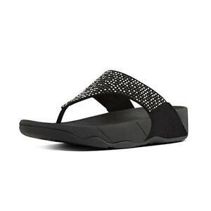 Fitflop Women's LuLu Popstud Toe-Post Thong Sandals Rubber Sole Black Size 38