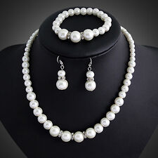 Wedding Jewelry Set, Bridal Jewellery,Pearls,Necklace,Bracelet and Earrings Set