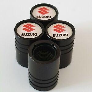 SUZUKI Matte Black metal valve Tyre Dust Caps Plastic Inside all models Alto