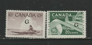 CANADA OFFICIALS #O39A,45A FLYING G  MINT NH