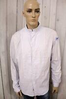 BLAUER Camicia Uomo Shirt Casual Manica Lunga Bianco Cotone Chemise Taglia 2XL