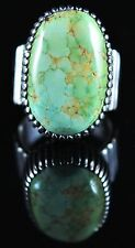Sterling Silver Navajo Ring Rare Gem Grade Carico Lake Turquoise Signed Ned Nez