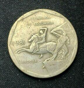 1981 Colombia 10 Peso Coin VF     World Coin   Copper nickel    #K1291