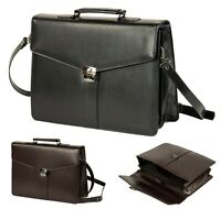 Leather Executive Laptop Business Satchel Bag Documents Work Briefcase Messenger