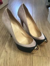 LN CHRISTIAN LOUBOUTIN LADIES MAGGIE NAVY/PINK SUEDE PUMPS HEELS SIZE 38 UK 5
