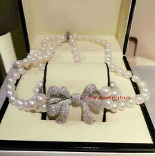 "36"" AAAAA 2 row 17""19"" 9-10mm round REAL south sea WHITE pearl necklace silver"