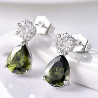 New Vintage Women Green Peridot Crystal White Gold Filled Stud Drop Earrings