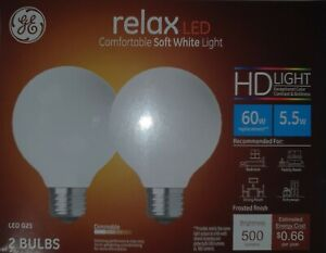 GE 31696 G25 Frost LED Light Bulb White 60W Relax Qty 8
