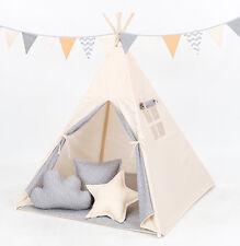 Tipi Teepee Kinderzelt 150cm Wigwam 3 Kissen Bodenmatte Beige /Sterne Mini Grau