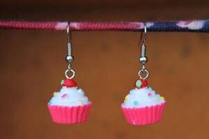 Cupcake Earrings, Food Earrings,Pink Cupcake Earrings, Kawaii Earrings