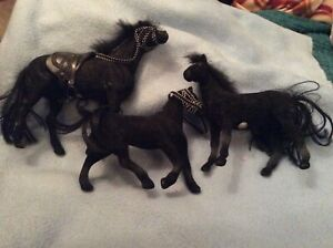 "THREE BLACK  7"" AND 5"" STANDING HORSES - USED ONE MISSING MANE"