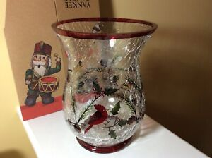 New Yankee Candle Winter Birds Hurricane Crackle Glass Pillar Holder Centerpiece