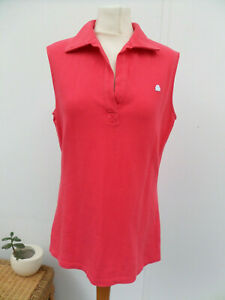 Benetton 100% Cotton Coral Colour Sleeveless Sports Top T-Shirt Size M (12-14)