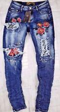 Damen-Jeans mit Strass-Blumen Normalgröße
