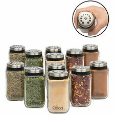Adjustable Glass Spice Jars- Set of 12 Premium Seasoning Shaker Rub Container