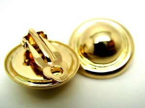 Genuine 9ct Yellow Gold Clip On Large 14mm Half Ball Round Earrings