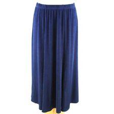 CLASSIC Slinky Pleat Metallic Midi Skirt 12 14 Navy Blue A-Line Shimmer Party