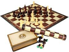 "Fierce Knight Staunton Rosewood Chess Set Pieces 3"" +Wooden Box + Chess Board"