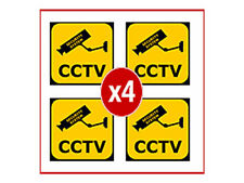 SECURITY CAMERA WARNING STICKERS - 4 x CCTV STICKERS