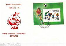 1981 -BLOC N°19 SUR  FDC 1°JOUR -COUPE DU MONDE-COTE D'IVOIRE-FOOTBALL*ESPANA 82