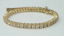 5.00 ct round cut yellow gold 14k diamond tennis bracelet E SI1 CERTIFIED 7 inch