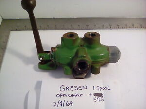GRESEN SINGLE SPOOL HYDRAULIC CONTROL VALVE DOUBLE ACTING BUILT IN RELIEF, USED