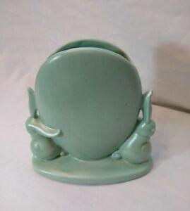 Nice HTF Deco Seafoam Matte Green Haeger Pottery Rabbit Vase!