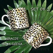 New SET OF 2 - STECHCOL - Gracie Bone China 12 OZ Mugs Cheetah Leopard B/W Gold