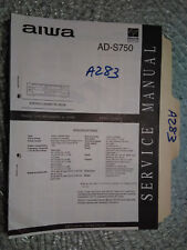 Aiwa ad-s750 service manual original repair book stereo tape deck player