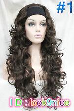 Women Brown/Black/Orange wig Long Curly Wave 3/4 half with headband Cosplay Wig