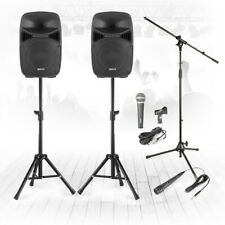 """VPS102 10"""" PA Speaker Complete Stage Sound System with Stands & Microphones 600w"""