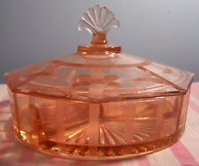 Vintage Etched Pink Glass Covered Dish