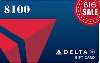 Delta Airlines Gift Card Delta.com   $ 100 USD   Fast Free Delivery
