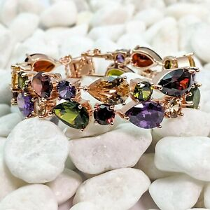 Rose Gold Plated With Multi Coloured Cubic Zirconia Gemstones Bracelet