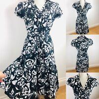 PER UNA Flare Dress & Belt Size 10 Black/White Floaty Ruffle Neck Evening M&S